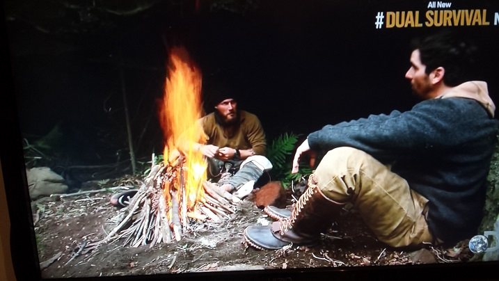 Grady and Bill by the fire